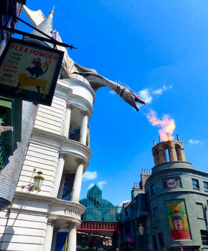 3- Under the fire-spewing dragon just before it took   flight from Gringotts!