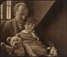 A__A__Milne_with_his_son_Christopher_Robin_Milne_and_Pooh_Bear_-_Howard_Coster_-_NPG_P715