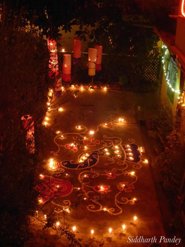 2. A Diwali rangoli  in pre-Cambridge days (Shimla,   India).