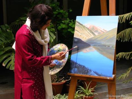 23- Ma painting the Himalayan tarn, years back, in the   Himalayas
